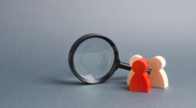 Three wooden human figure stands near a magnifying glass on a gray background. The concept of the search for people and workers. royalty free stock images