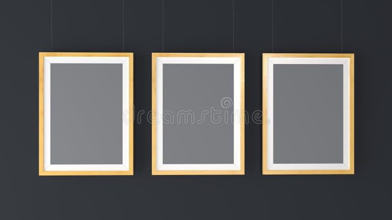 Three wooden Photo Frames Mockup. High resolution 3d render. vector illustration