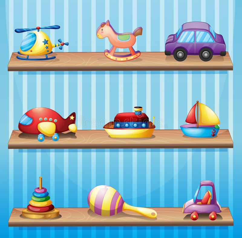 Three wooden shelves with toys royalty free illustration