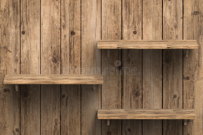 Three wooden shelves on wall. 3d rendering three wooden shelves on wall royalty free stock images