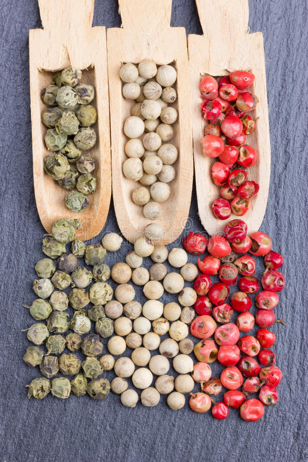 Three wooden spoons with other kinds of pepper stock image
