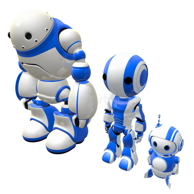 Download Three Worker Robots Standing In Line Stock Image - Image: 26056951