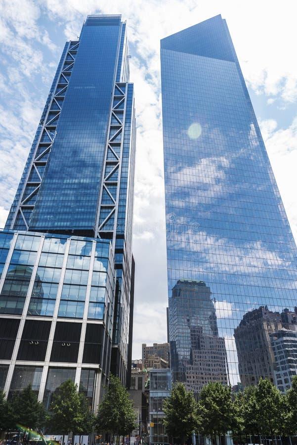 Three World Financial Center in Manhattan, New York City, USA. New York City, USA - July 27, 2018: Three World Financial Center in Financial District in royalty free stock photography