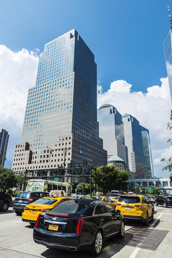 Three World Financial Center in Manhattan, New York City, USA. New York City, USA - July 27, 2018: Three World Financial Center in Financial District, also known stock images