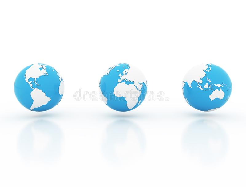 Three world globe - America, Europe and Asia royalty free stock images