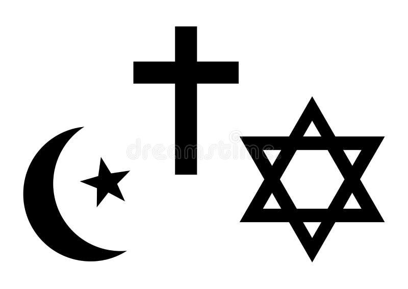 Three world religions symbols. Islam, Christianity and Judaism. Vector illustration. Three world religions symbols. Islam, Christianity and Judaism. Black stock illustration