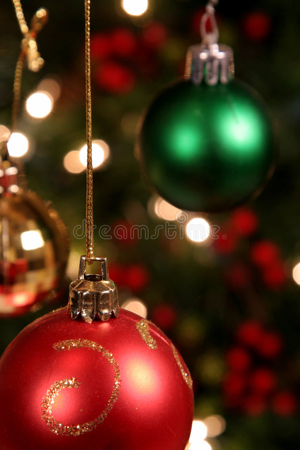 Three Xmas Baubles stock photos