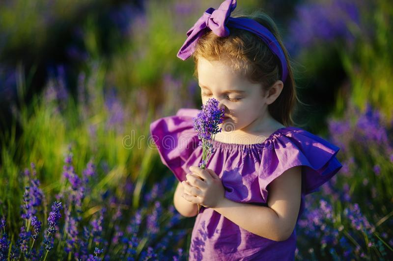 Little girl sniffing the scent of blue flower stock photos