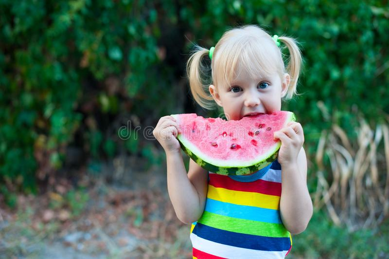 Three-year-old little European blonde girl eating a watermelon on a background of green leaves royalty free stock images