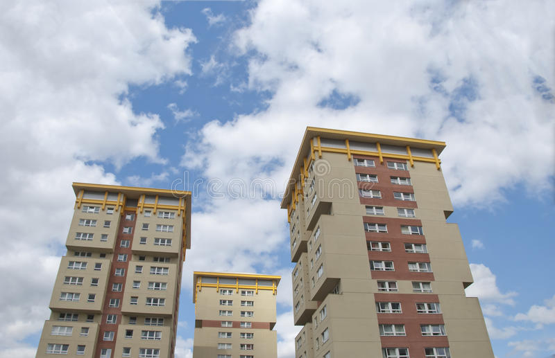 Three Yellow and Cream Apartments royalty free stock photo