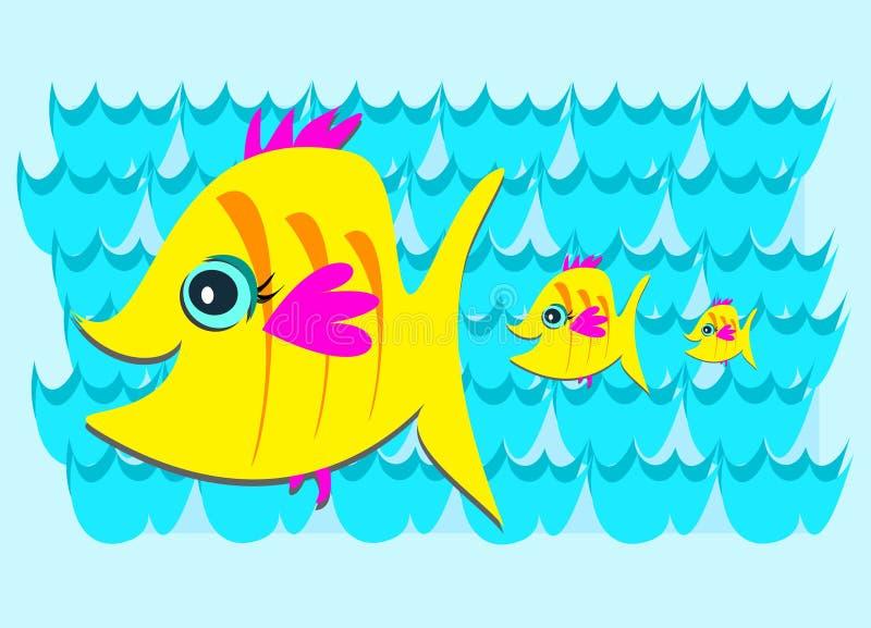 Three Yellow Fish in the Sea royalty free illustration