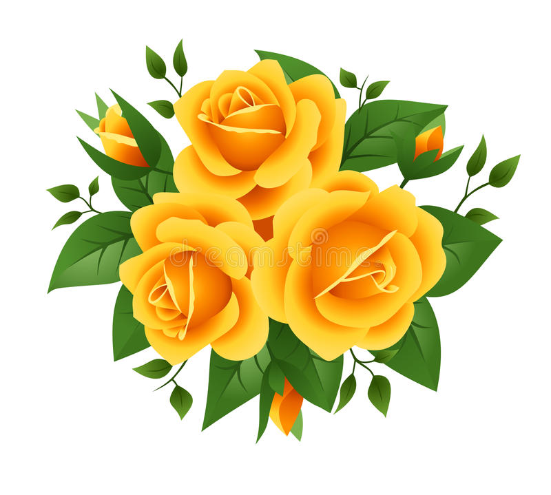 Three yellow roses. Vector illustration. stock illustration