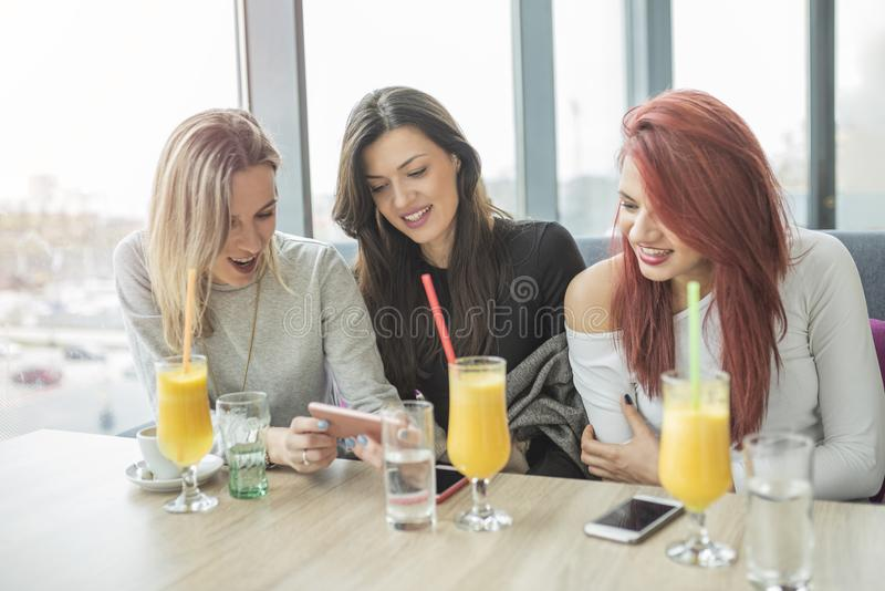 Three young attractie women using mobile phone at coffee shop. royalty free stock image
