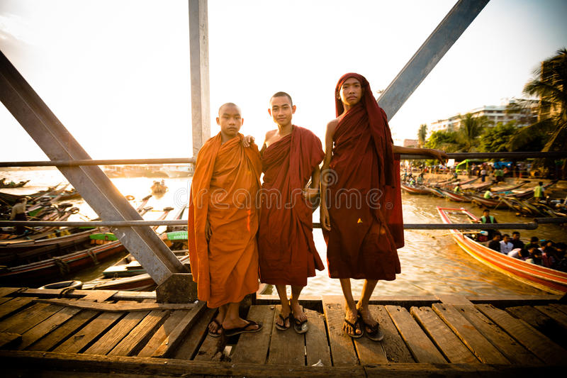 Three young buddhist monks stock photos