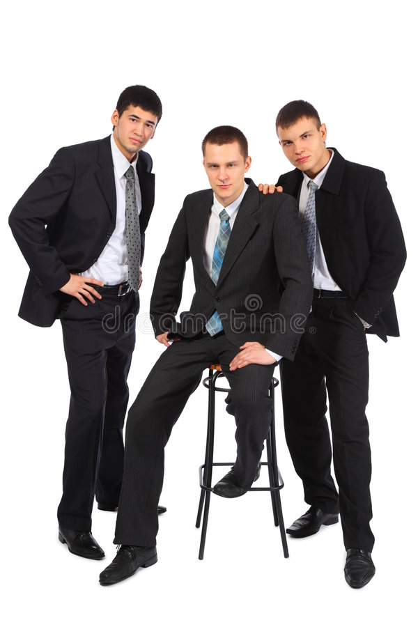 Three young businessmen stock image