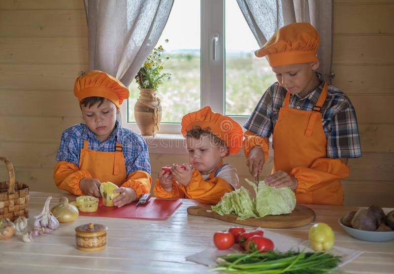 Three young chefs cut vegetables for vegetarian soup on a table in a country house. three brothers in suits cooks prepare royalty free stock photo