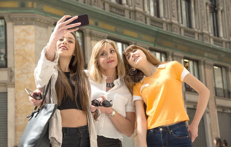 Three young female tourists in Naples stock image