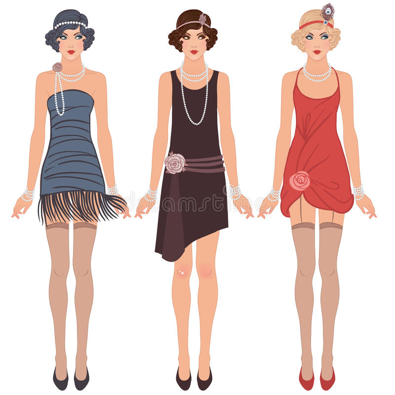 Three young flapper women of 1920s vector illustration