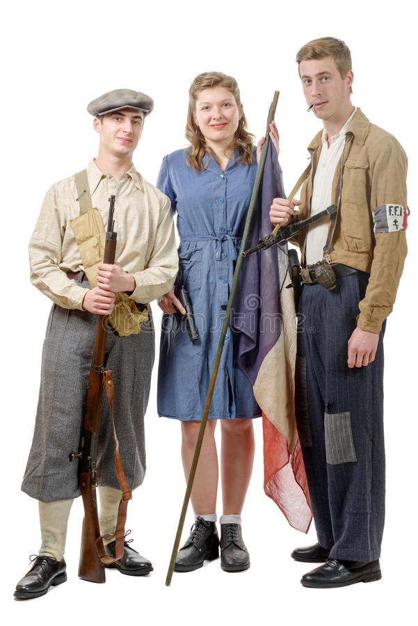 three young French Resistance, vintage clothes and weapons, reenactment royalty free stock photos