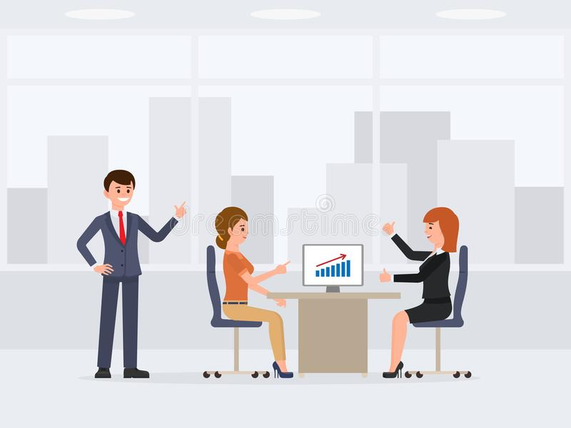 Three young happy office workers meeting cartoon character. Financial report background. Three young happy office workers meeting cartoon character. Financial royalty free illustration