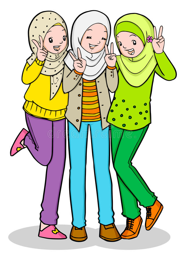 three young muslim girl stock vector illustration of