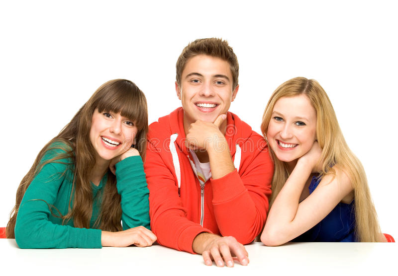 Download Three young people stock image. Image of student, male - 21281083