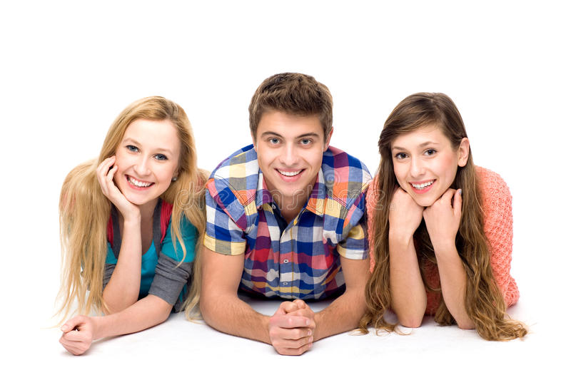 Three young people stock photo