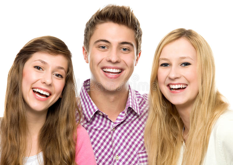Three young people stock photos