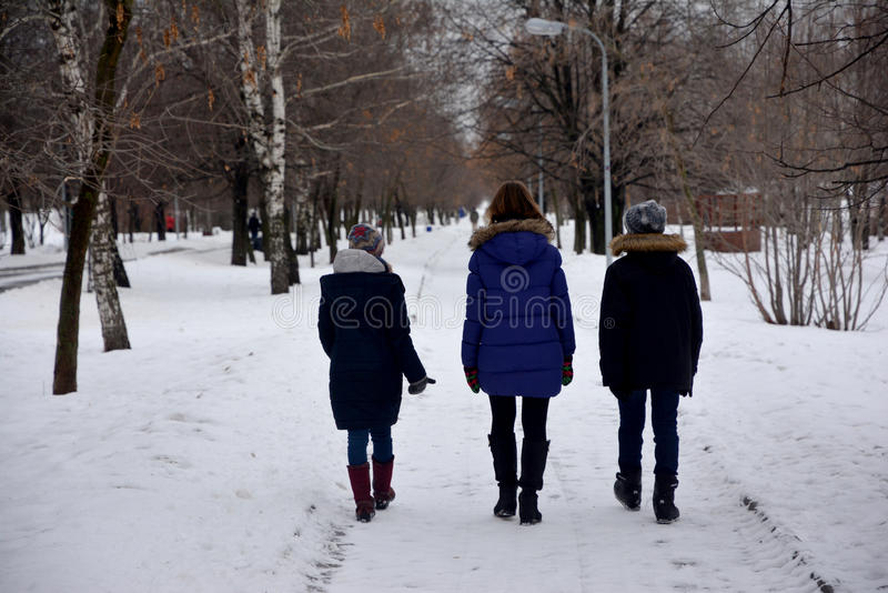 Three young person are talking and walking on a park path in winter in Moscow stock photo