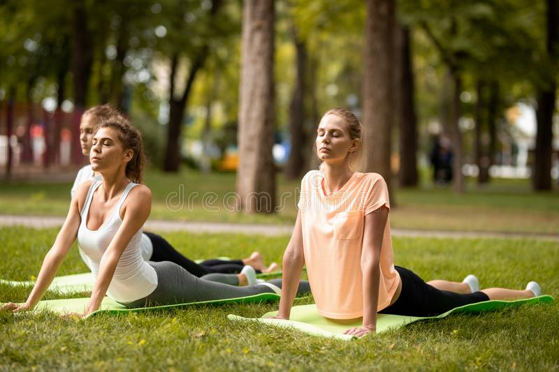 Three young slender girls doing stretching on yoga mats on green grass in the park on a warm day. Yoga on the open air royalty free stock photos