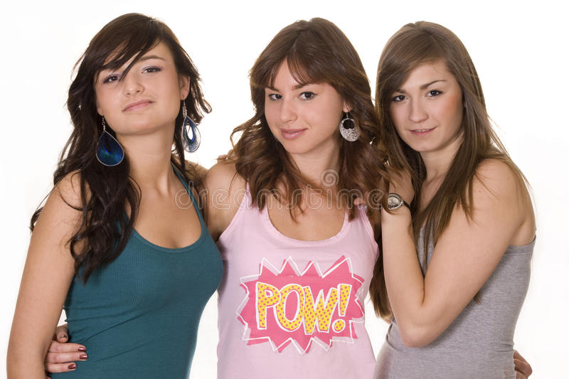Three Young Smiling Female Friends Royalty Free Stock Photos