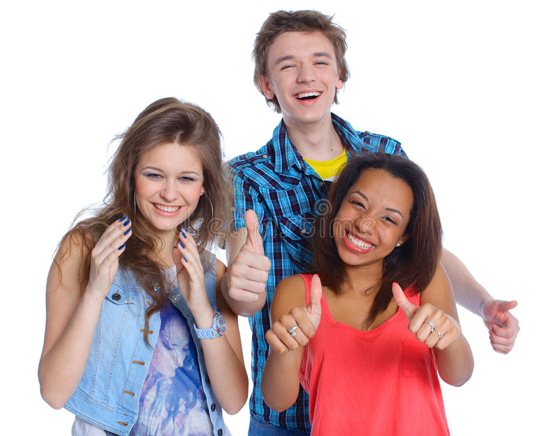 Three young teenagers. Portrait of three young teenagers laughing. Isolated on white background royalty free stock photos