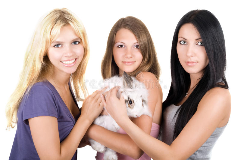 Three young women stock image