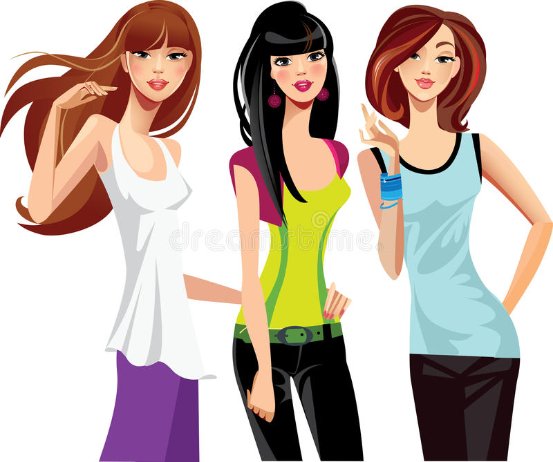 Download Three young women stock vector. Image of group, female - 22535870