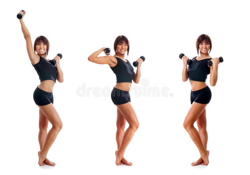 Three young women training with dumbbells