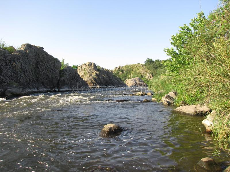 Thresholds for rafting in Мигея. Pervomaisk on the Bug, Miguia, travel to South Pobuzhye, a stormy river royalty free stock photography