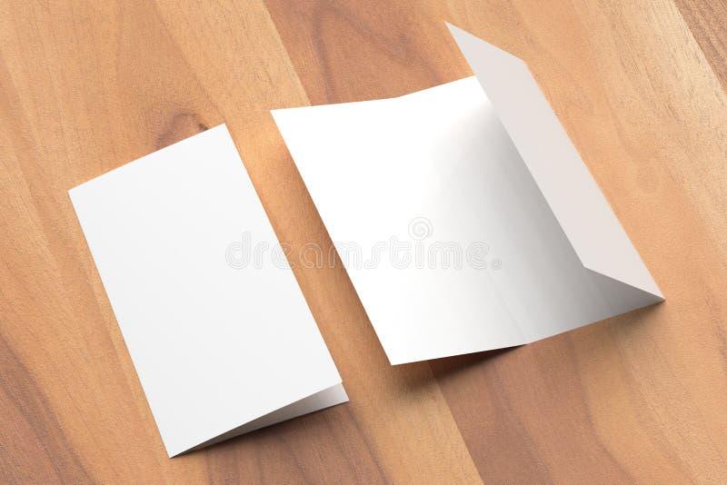 Thrifold - mofa del folleto de tres dobleces para arriba en fondo de madera 3d fotografía de archivo libre de regalías