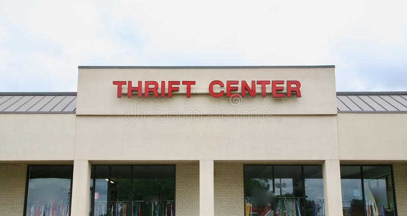 Thrift Center. A Thrift Center sells second-hand merchandise items such as shoes, clothing, appliances and home décor stock photos