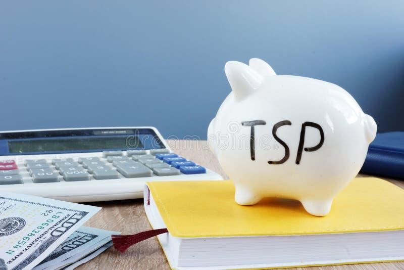Thrift savings plan TSP written on a piggy bank. Thrift savings plan TSP written on the piggy bank royalty free stock image