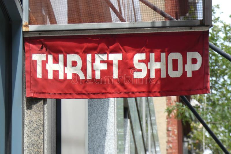 Thrift Shop. A red Thrift Shop sign in downtown Manhattan royalty free stock image