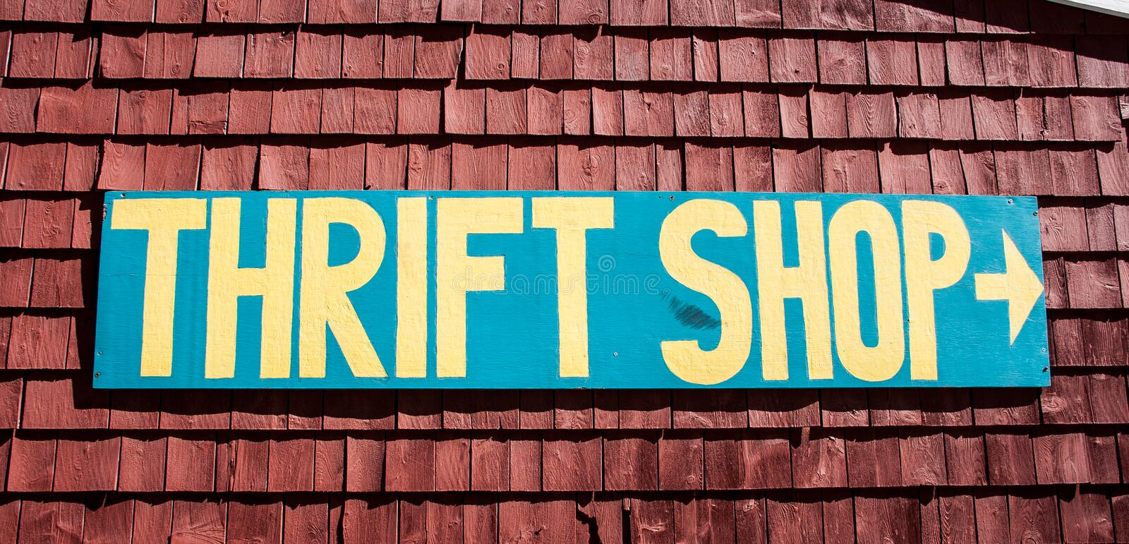 Thrift shop sign. In the United States of America royalty free stock photography