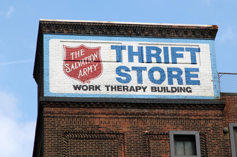 Thrift store sign. Thrift store of the salvation army sign on a brick building royalty free stock image