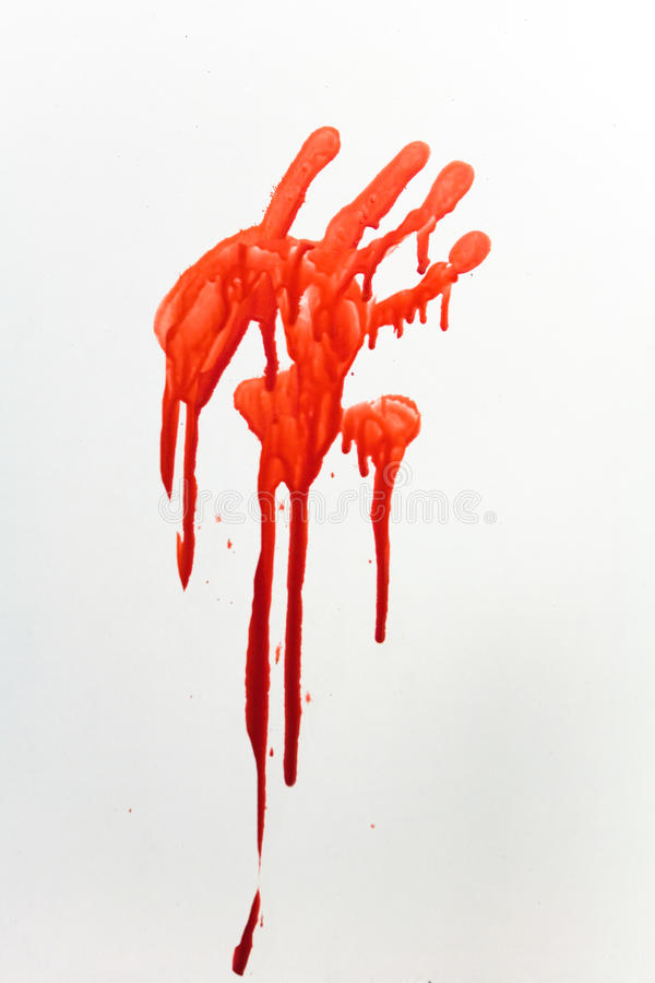 Thriller. Bloody imprint of human hands on a white background royalty free stock image