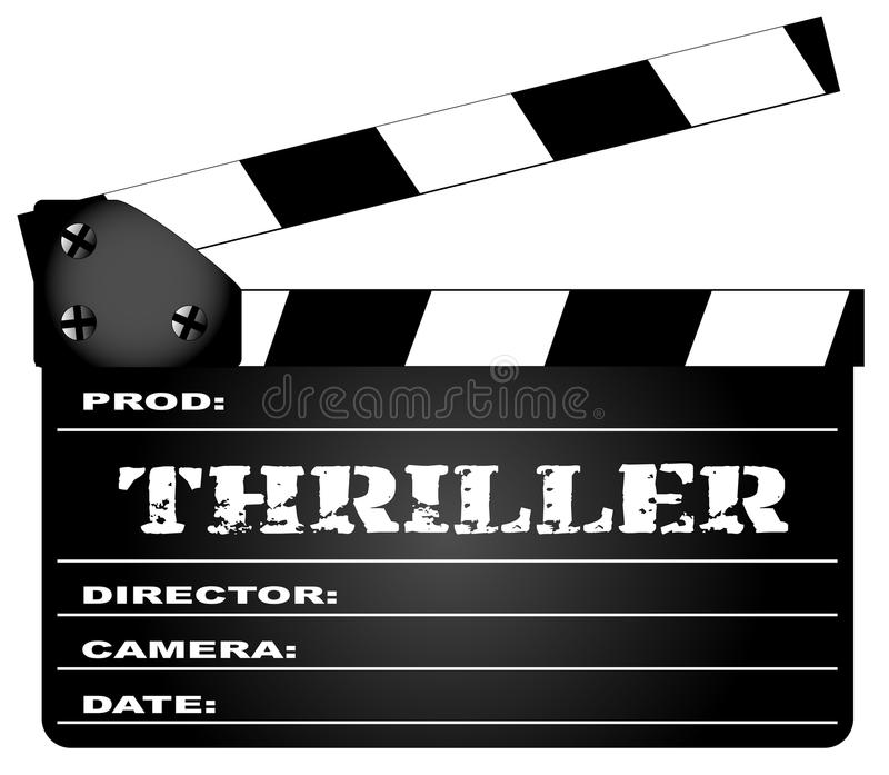 Thriller Clapperboard. A typical movie clapperboard with the legend Thriller isolated on white vector illustration