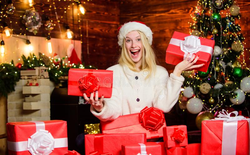 Thrilling emotions. Happy smiling woman and gift box. Boxing day. Cozy home. Happy moments. Happiness and joy. Festive stock photo