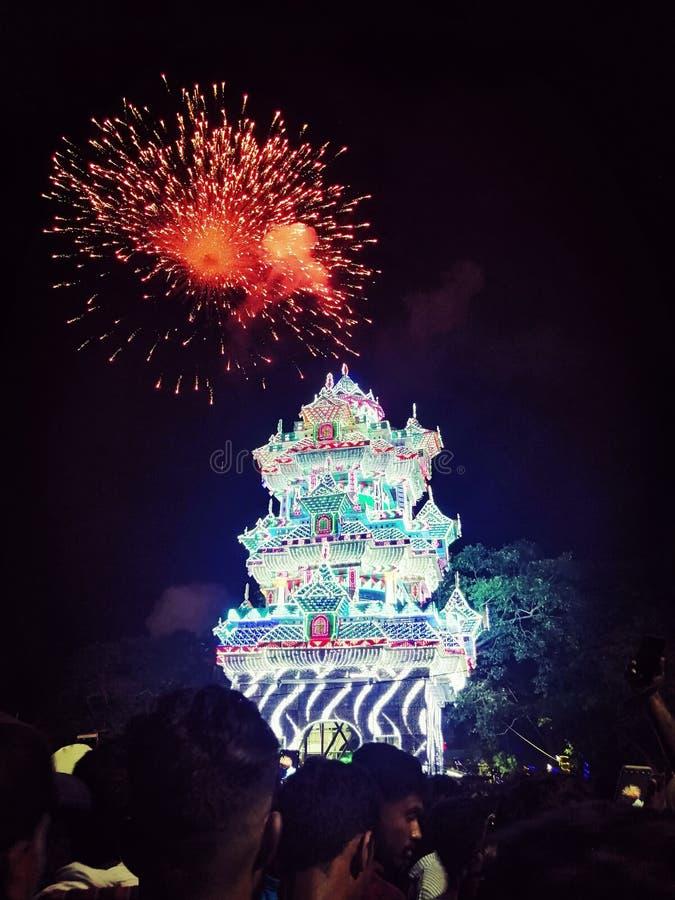 Thrissur pooram fajerwerki zdjęcie royalty free