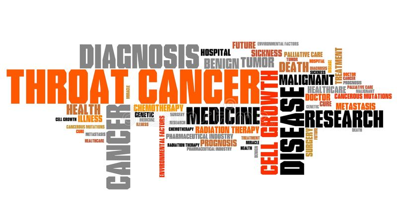 Throat cancer. Word collage concept. Serious disease treatment vector illustration