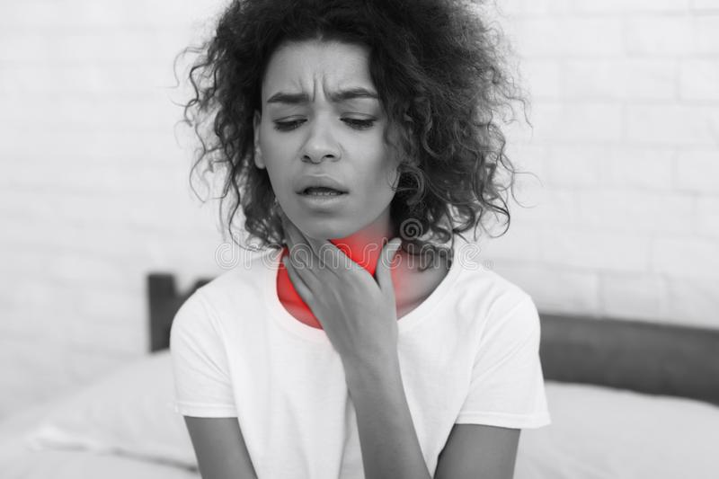 Throat Pain. Sick Woman With Sore Throat Feeling Bad stock images