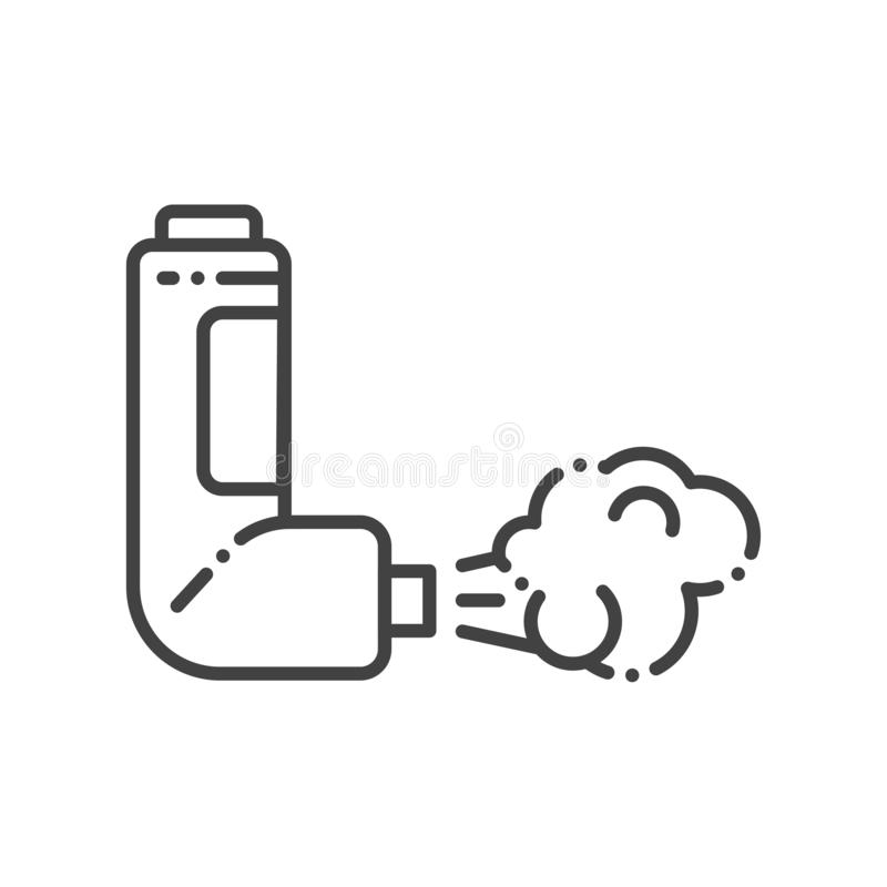 Throat spray line black icon. Asthma inhaler. First aid. Lung disease treatment. Sign for web page, mobile app, button, logo. Throat spray line black icon royalty free illustration