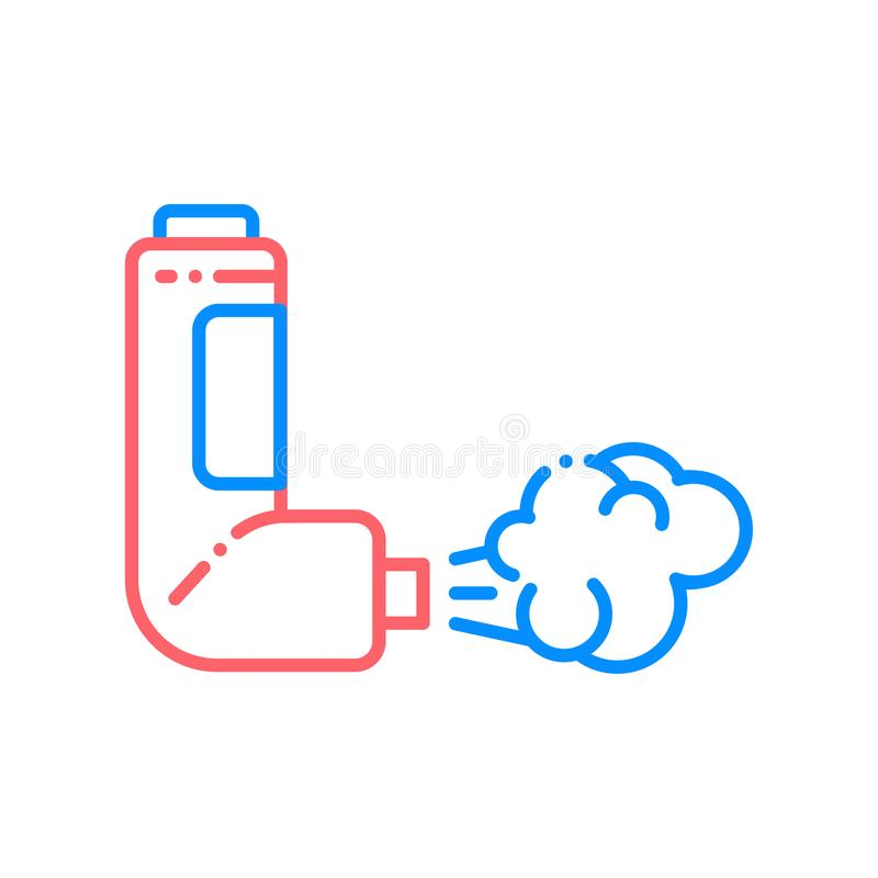 Throat spray line color icon. Asthma inhaler. First aid. Lung disease treatment. Sign for web page, mobile app, button, logo. Vector isolated element. Editable vector illustration